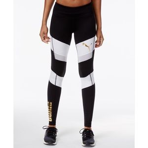 PUMA | Colorblock Gold Logo Mesh Panel Leggings